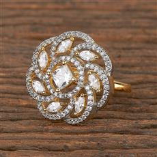 411536 Cz Classic Ring With 2 Tone Plating
