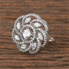 411537 Cz Classic Ring With Rhodium Plating