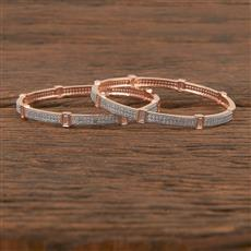 411544 Cz Classic Bangles With Rose Gold Plating