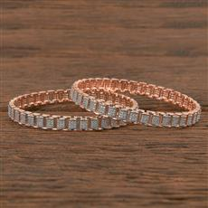 411545 Cz Classic Bangles With Rose Gold Plating