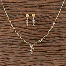 411548 Cz Classic Necklace With 2 Tone Plating