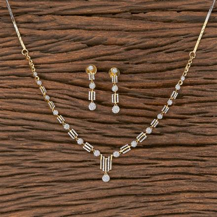 411554 Cz Classic Necklace With 2 Tone Plating