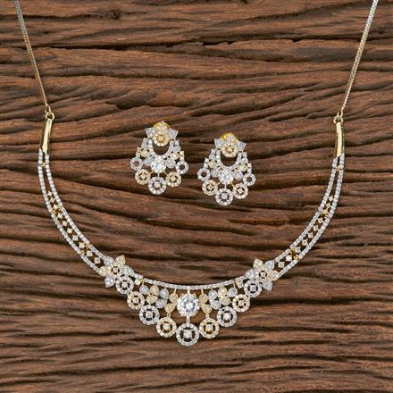 411563 Cz Classic Necklace With 2 Tone Plating
