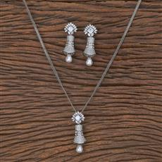 411573 Cz Classic Pendant Set With Rhodium Plating