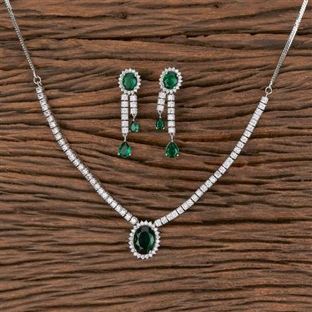 411599 Cz Classic Necklace With Rhodium Plating