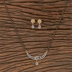 411609 Cz Delicate Mangalsutra With 2 Tone Plating