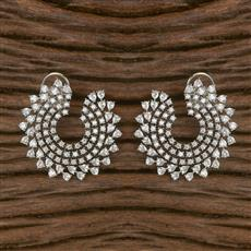 411619 Cz Chand Earring With Rhodium Plating