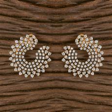 411621 Cz Chand Earring With 2 Tone Plating