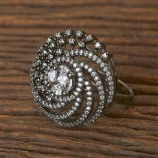 411630 Cz Classic Ring With Black Plating