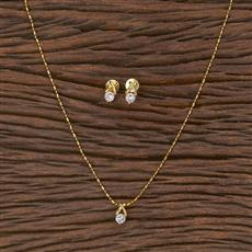 411641 Cz Delicate Pendant Set With Gold Plating