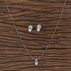 411642 Cz Delicate Pendant Set With Rhodium Plating