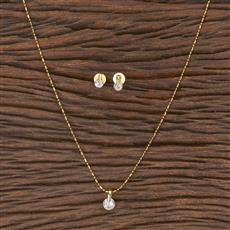 411644 Cz Delicate Pendant Set With Gold Plating