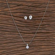 411646 Cz Delicate Pendant Set With Rhodium Plating