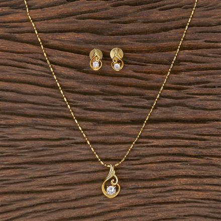411650 Cz Delicate Pendant Set With Gold Plating