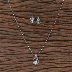 411651 Cz Delicate Pendant Set With Rhodium Plating