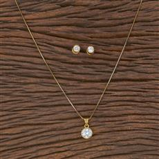 411690 Cz Delicate Pendant Set With Gold Plating