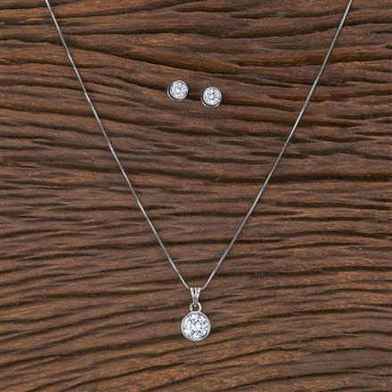 411691 Cz Delicate Pendant Set With Rhodium Plating
