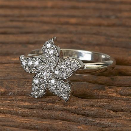 411738 Cz Classic Ring With Rhodium Plating
