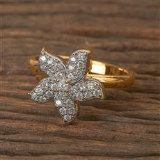 411739 Cz Classic Ring With 2 Tone Plating