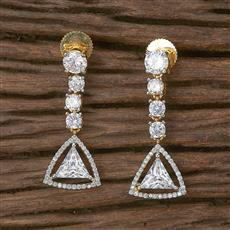 411742 Cz Classic Earring With 2 Tone Plating