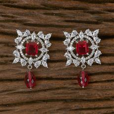 411746 Cz Short Earring With Rhodium Plating