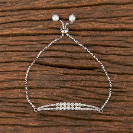 411773 Cz Adjustable Bracelet With Rhodium Plating