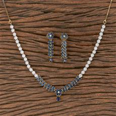 411796 Cz Classic Necklace With 2 Tone Plating
