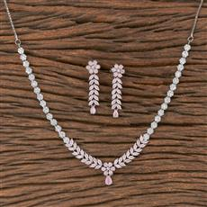 411797 Cz Classic Necklace With Rhodium Plating