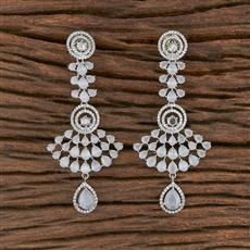 411813 Cz Classic Earring With Rhodium Plating