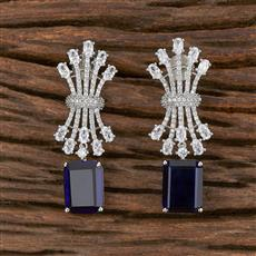 411817 Cz Classic Earring With Rhodium Plating