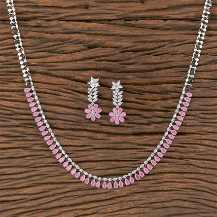 411831 Cz Classic Necklace With Rhodium Plating
