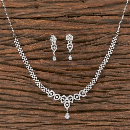 411840 Cz Delicate Necklace With Rhodium Plating