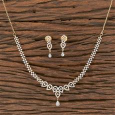 411841 Cz Delicate Necklace With 2 Tone Plating