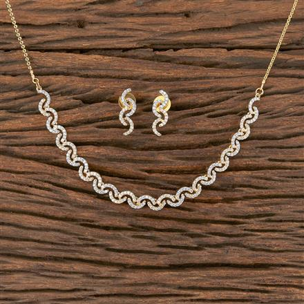 411844 Cz Delicate Necklace With 2 Tone Plating