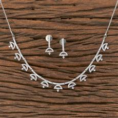411846 Cz Delicate Necklace With Rhodium Plating