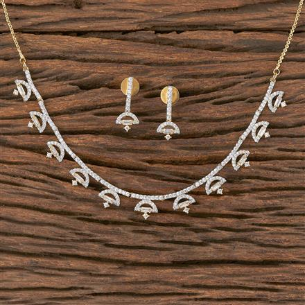 411848 Cz Delicate Necklace With 2 Tone Plating