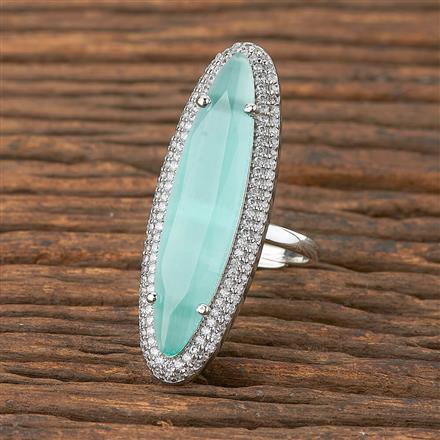 411862 Cz Classic Ring With Rhodium Plating