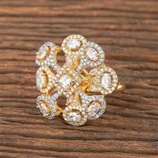411874 Cz Classic Ring With 2 Tone Plating