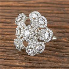 411875 Cz Classic Ring With Rhodium Plating