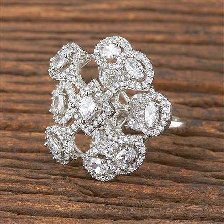 411875 Cz Classic Ring With Rhodium Plating