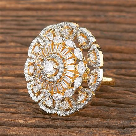 411879 Cz Classic Ring With 2 Tone Plating