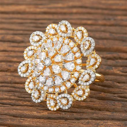 411881 Cz Classic Ring With 2 Tone Plating