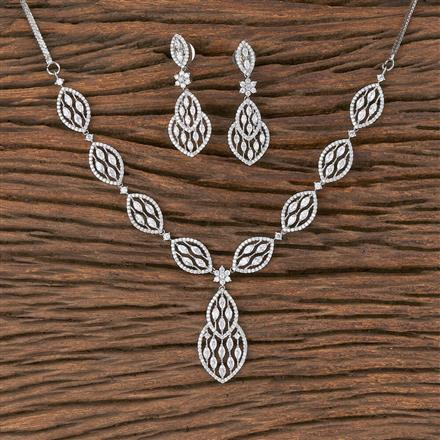 411899 Cz Classic Necklace With Rhodium Plating