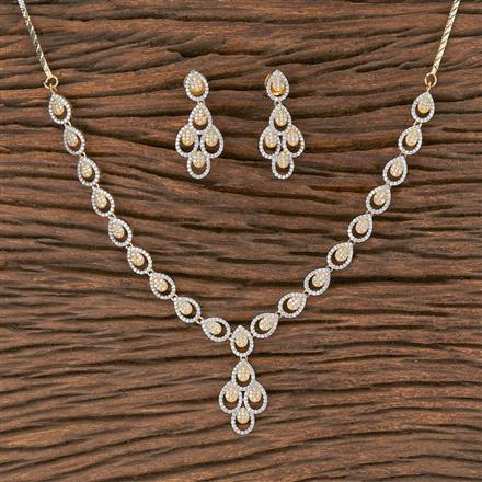 411901 Cz Classic Necklace With 2 Tone Plating