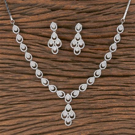 411902 Cz Classic Necklace With Rhodium Plating