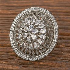 411908 Cz Classic Ring With Rhodium Plating