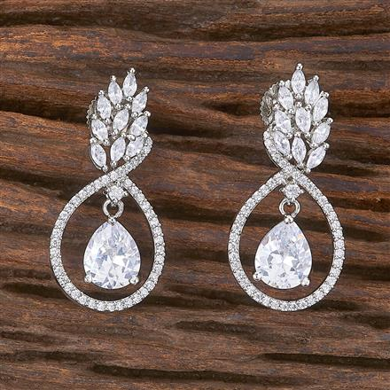 411930 Cz Classic Earring With Rhodium Plating