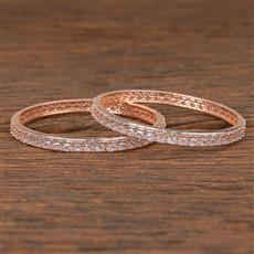 411969 Cz Classic Bangles With Rose Gold Plating