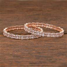 411970 Cz Classic Bangles With Rose Gold Plating