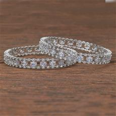 411971 Cz Classic Bangles With Rhodium Plating